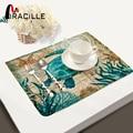 Miracille 2/4/6 piezas Juego de manteles de cocina manteles de algodón Lino mantel marino mar tortuga pulpo patrón manteles decorativos