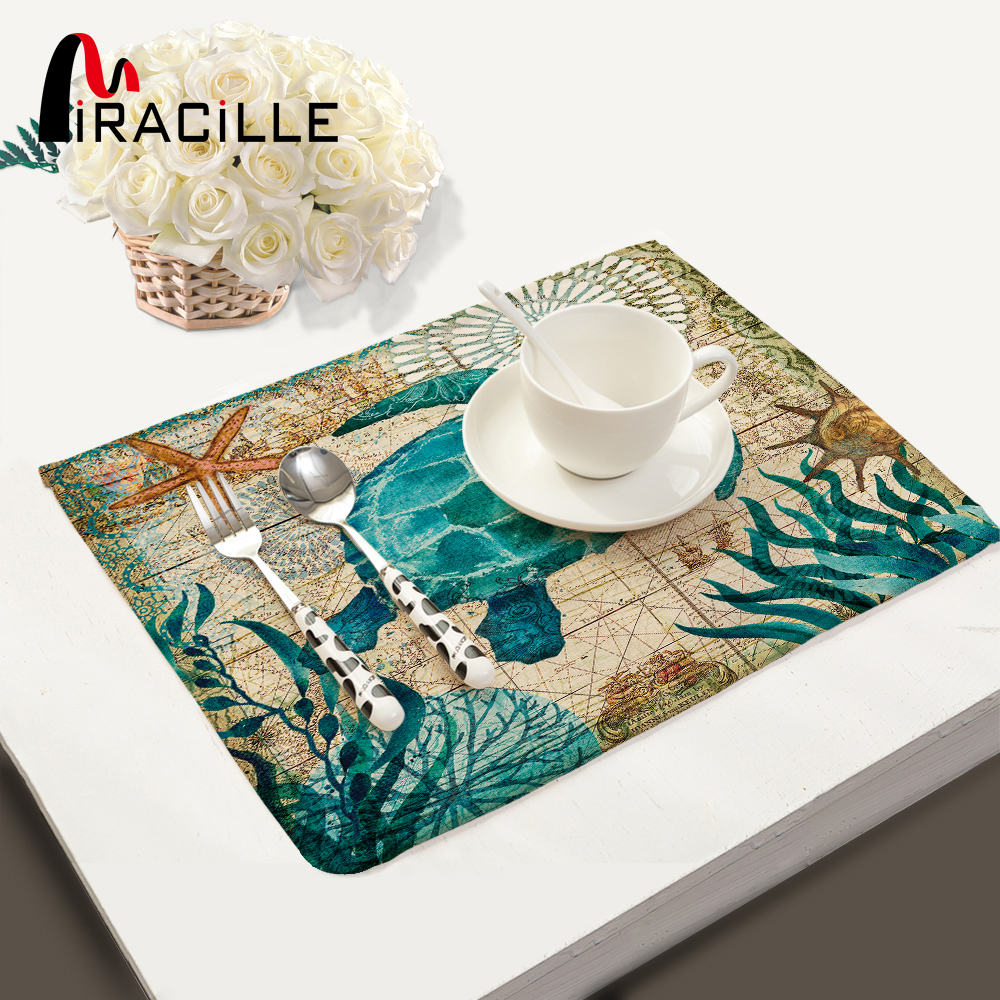 Miracille Set 2/4 / 6pieces Table de cuisine Tapis de table Serviette de table en lin de coton Marine Tortue de mer Octopus Motif Décoratif