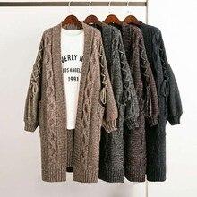 Свободные густая шерсть свитер в удлиненное плотное пальто с рукавами-фонариками твист Большие размеры свитер для женщин пальто кардиган