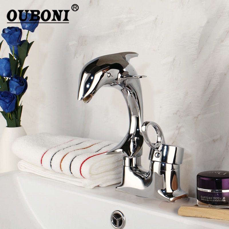 OUBONI Dolphin Polished Chrome Solid Brass 1 Handle 2 Hoses Deck Mounted Stream Spout Bathroom Basin sink Mixer Tap Faucet(China)