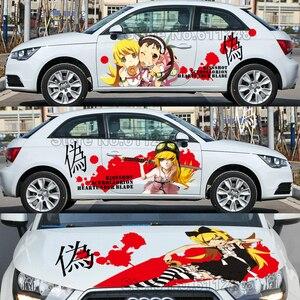 Pegatinas de Anime japonés de estilo de coche Oshino Shinobu, pegatinas de vinilo, carrocería calcomanía de carreras, película de pintura de capó de coche ACGN