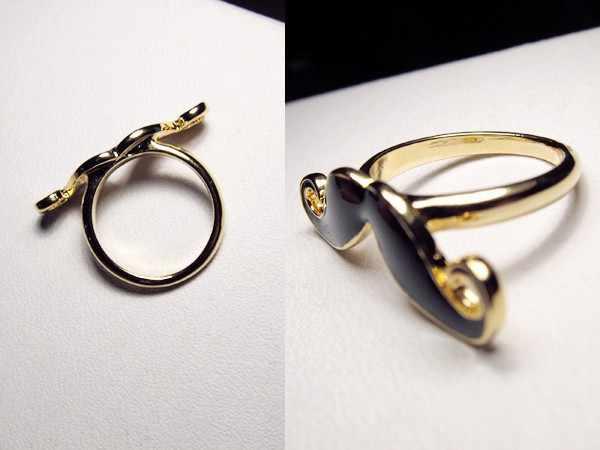 Aliexpress ที่ถูกที่สุดราคาโลหะผสมเคราคู่เปิดแหวนเคลือบสีดำหนวดลายนิ้วมือ KC01