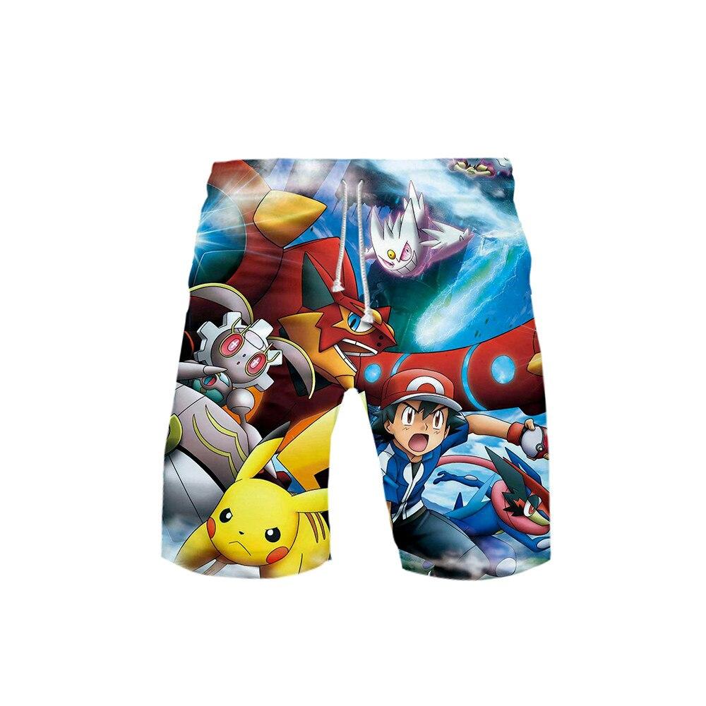 3D Pokemon Pikachu Mens Swimwear Swim Shorts Trunks Beach Board Shorts Swimming Pants Swimsuits Mens Running Sports Shorts