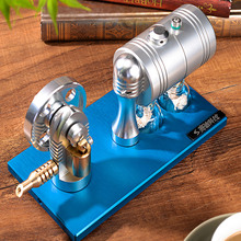 Steam-Engine-Model Aluminum-Alloy with Heating-Boiler Alcohol-Lamp Base Metal Retro Startable