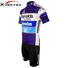 Clásico Retro ciclismo kit 2015 Reynolds Alumini Retro ciclismo Jersey de  manga corta y del babero fijó prendas ciclismo 74b1614e1