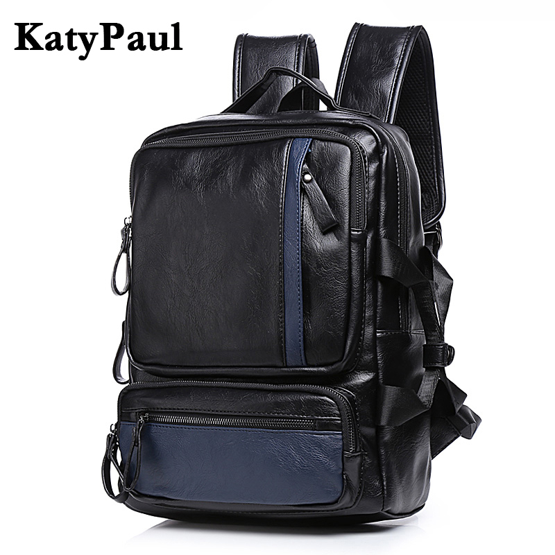 KatyPaul Brand Men Large Capacity Leather Rucksack Youth School Bag 14 Inch Laptop Travel Backpack Male Business Shoulder Bags new canvas backpack travel bag korean version school bag leisure backpacks for laptop 14 inch computer bags rucksack