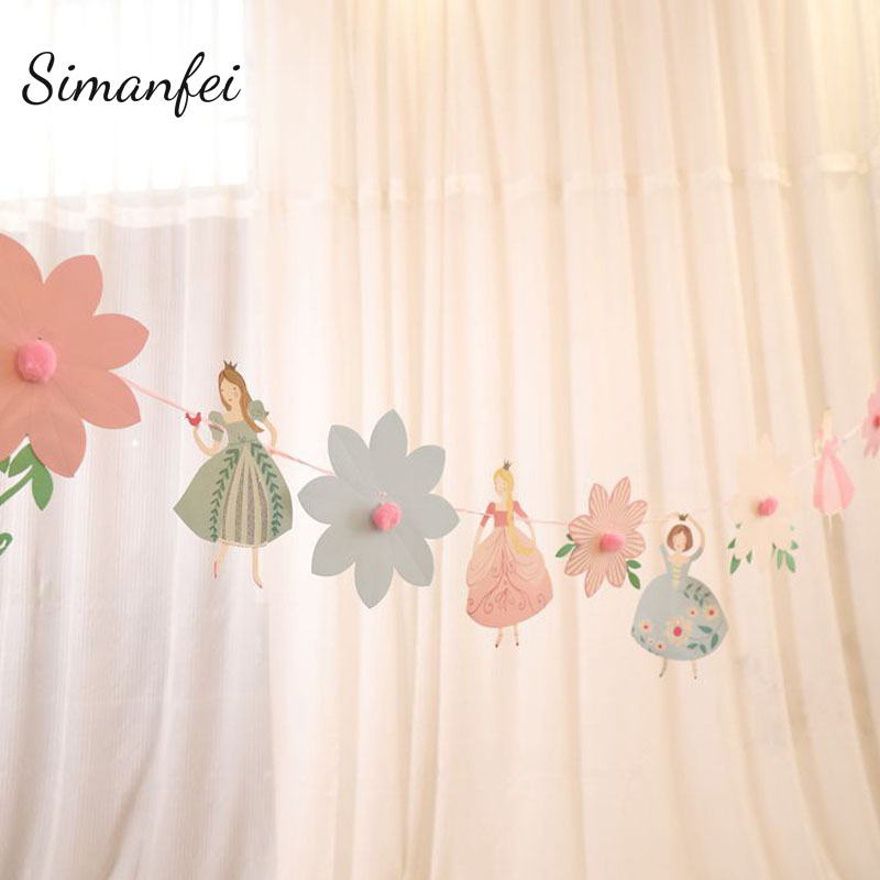 Banners For Bedrooms: Simanfei Party Banner 2019 Cartoon Pink Princess Flower