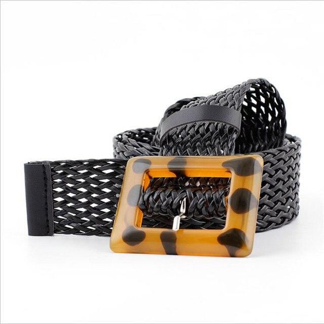 Nuevo diseño Laides ancho negro marrón cuero Cinturón trenzado Mujer  leopardo hebilla cinturones para el vestido 1fb63bcf6a39