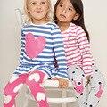Nueva Llegada Del Bebé Niñas Pijamas, Otoño de Manga Larga ropa de Dormir de Algodón Niños Pijamas Pijamas Otoño de Los Niños Arropa los Sistemas 2-7 años