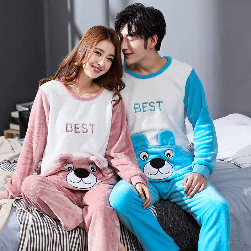 Winter Couple Cartoon Coral Velvet Pajamas Set Women Long Sleeve Plus Thick Warm Flannel Large Size Pyjamas Sets Home Suits 1813