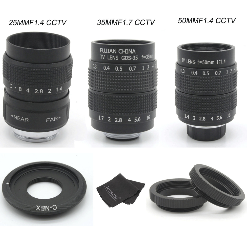 FUJIAN 35mm F1.7 CCTV camera Lens + 25mm f1.4 camera Lens + 50mmf1.4 camera Lens for SONY E Mount A6500 A6300 A6100 NEX sony a6500