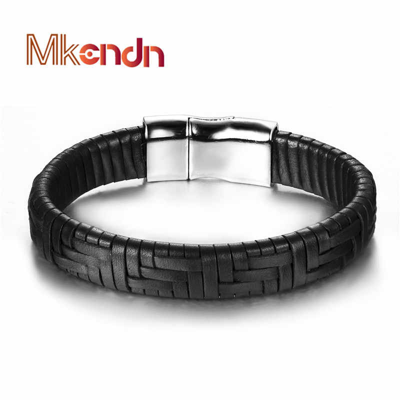 Wholesale 2016 new fashion fine jewelry tide men leather titanium steel bracelets male Vintage bracelet personality gifts