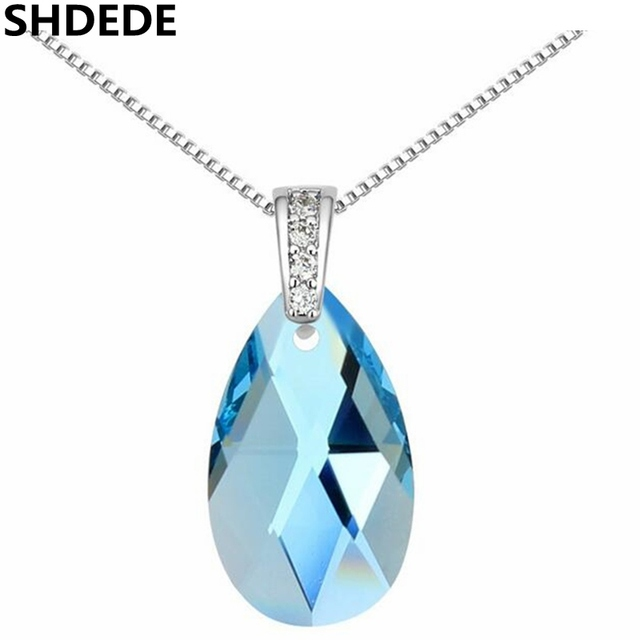Shdede water drop pendant blue crystal from swarovski high quality shdede water drop pendant blue crystal from swarovski high quality necklace women jewelry fashion gift lady mozeypictures Images