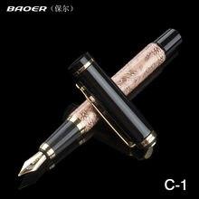 Чернильная ручка baoer 507 золотистая перьевая «восемь лошадей»