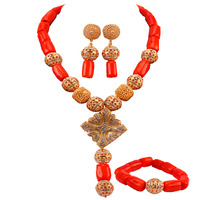 Fashion Orange African Wedding Coral Beads Jewelry Set Costume Necklace Sets for Women CJS06