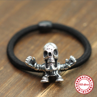 S925 Sterling Silver Headband Personality Retro Models Hip Hop Punk Style Skull Hair Ornaments Send Lover