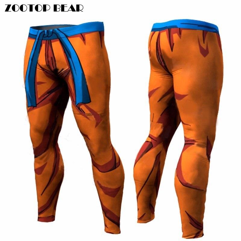 Dragon Ball compresión pantalones Fitness Quick Dry Tight Pant 3D Dragon Ball Z Anime hombres Vegeta Goku pantalones ZOOTOP oso
