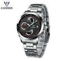 CADISEN Watch Men 2018 Top Brand Luxury Sport Fashion Casual Hot Quartz Mens Wristwatch Timer Stainless Steel Waterproof Watches Quartz Watches