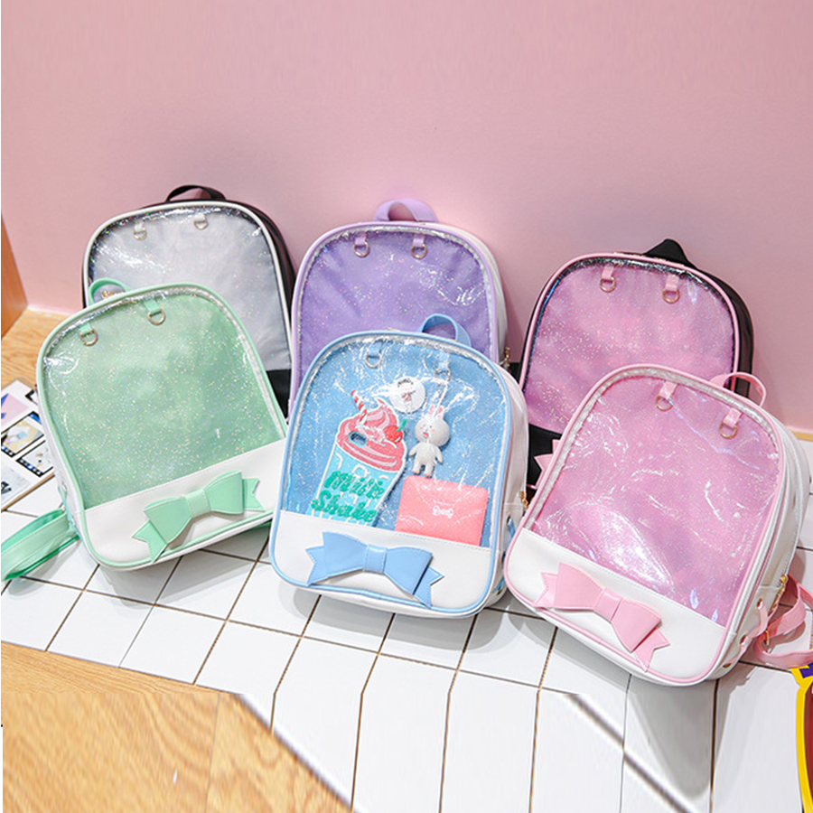 Clear Transparent Women Backpack Cute Bow Ita Bags For School Mini Pink Black Schoolbags For Teenage