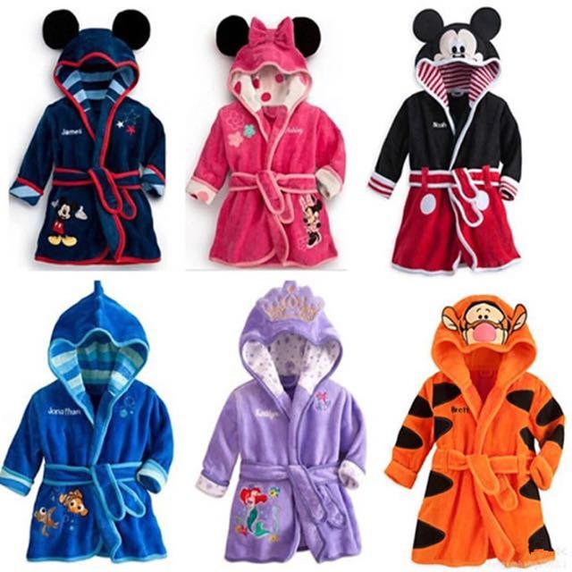 Crianças Pijamas Robe criança roupão com capuz Bebê Homewear Meninos Meninas Dos Desenhos Animados do Kawaii Roupões de Flanela Robe SY16112908