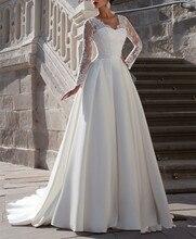2015 New Elegant Sweetheart Long Full Sleeve White Ivory Satin Wedding Dress Bridal Gown Chapel Train A-Line Zipper F144