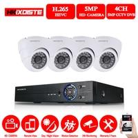 HKIXDISTE 4CH 5MP HD Home Security система камер 4 шт. 5.0MP 2560*1920 p для дома и улицы купольные камеры для видеонаблюдения комплект легко удаленного просмотра