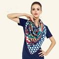 Sarga de Seda Bufanda de Las Mujeres 130*130 cm Euro Design Dot Colorida Mariposa Imprimir Bufandas Cuadradas de Regalo de Alta Calidad Grande Mantón de la manera