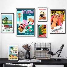 Retro viaje a Colombia Tropical playa lienzo pinturas pared vintage Kraft carteles recubierto pegatinas de pared decorativo regalo casero