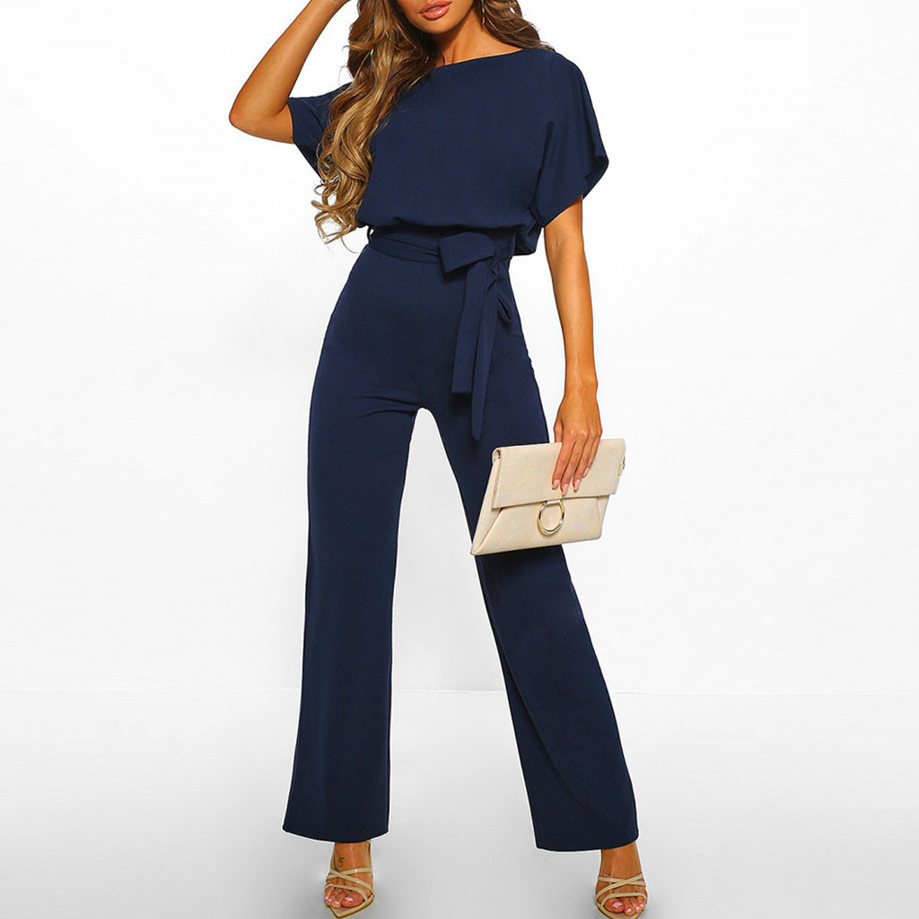 2019 High Street Wear Long Length Jumpsuit Women Short Sleeve Playsuit Clubwear Straight Leg Jumpsuit With Belt