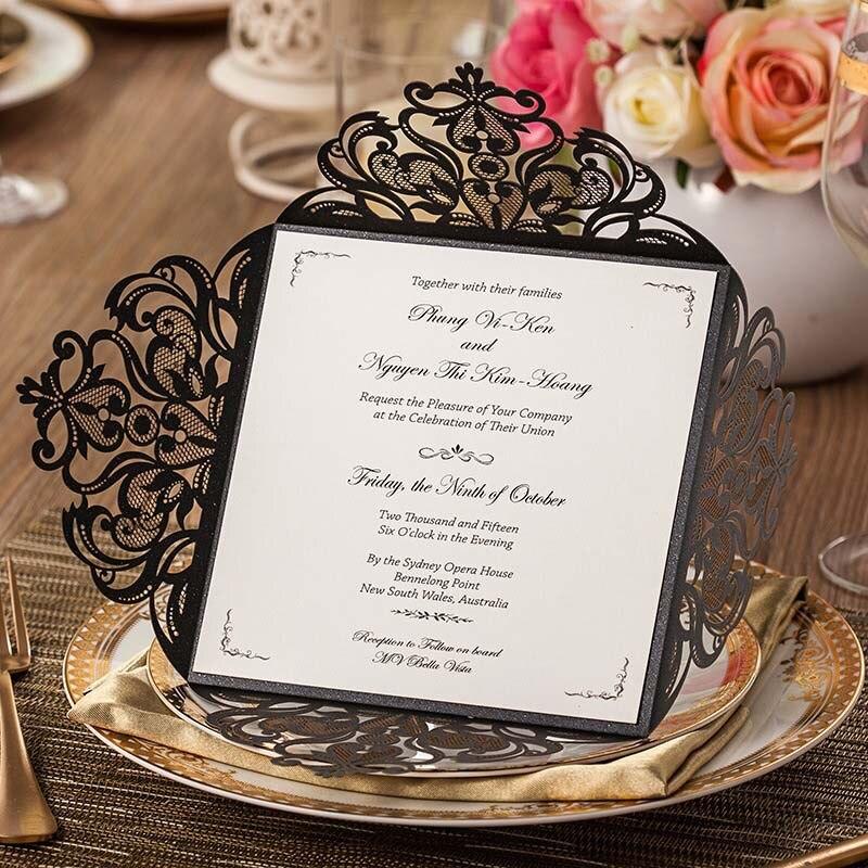 high class wedding invitations black birthday party invitation cards convites de casamento personalized printing envelope