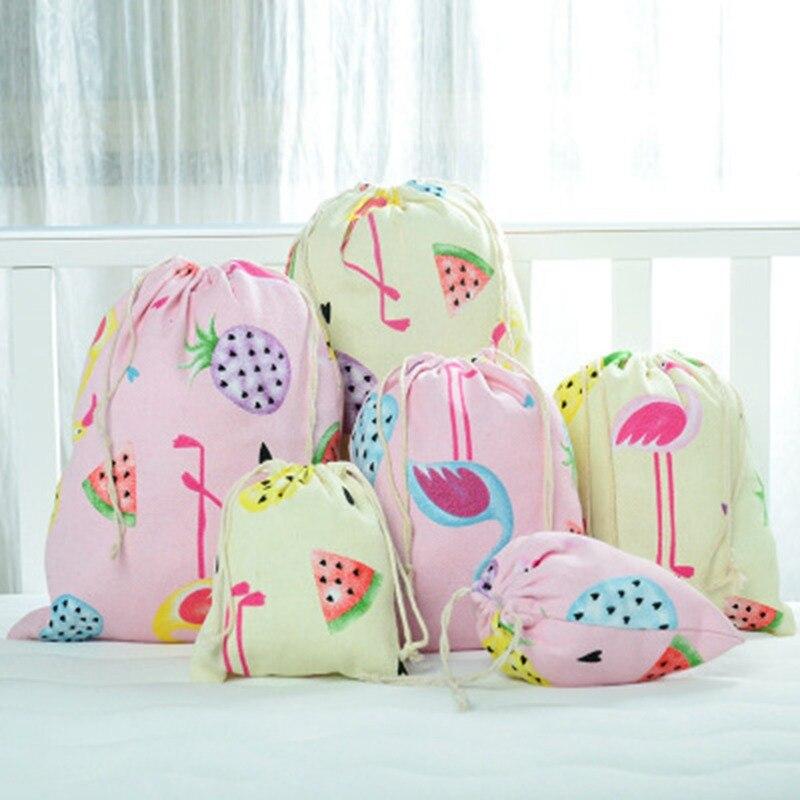 Cartoon Flamingo Cosmetic Bag Travel Make Up Case Organizer Canvas Drawstring Storage Toiletry Beauty Wash  Box Makeup Pouch