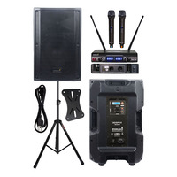 STARAUDIO 4500W Powered 15 4 Ohm Stage Active DJ DSP PA Speaker Audio KTV Speaker Stand 2CH UHF Wireless Handheld Mic SDSP 15