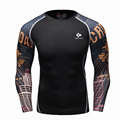 Mens Compresión de manga Larga Transpirable de Secado rápido Camisetas Bodybuilding levantamiento de pesas Capa Base Gimnasio Tight Tops T-shirt