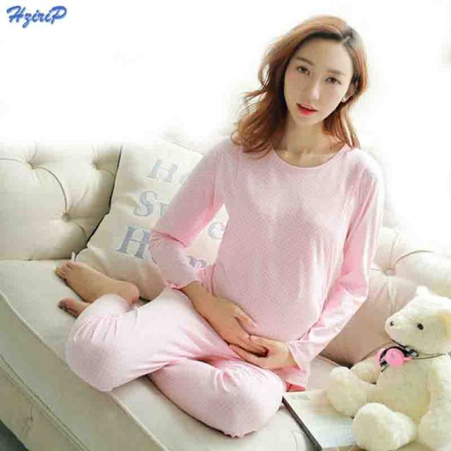 9d1fc2c24da Autumn Pregnant Women Sleepwear Pajamas Set Cute Pink Dot Pattern Cotton Maternity  Nursing Nightgown Feeding clothing