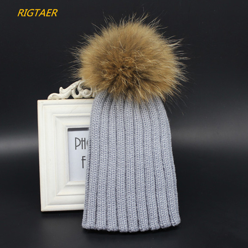 Autumn and winter raccoon hair ball knitting cap boy and girl baby Fur Pompom hat children wool hat baby warm hedge cap beanies