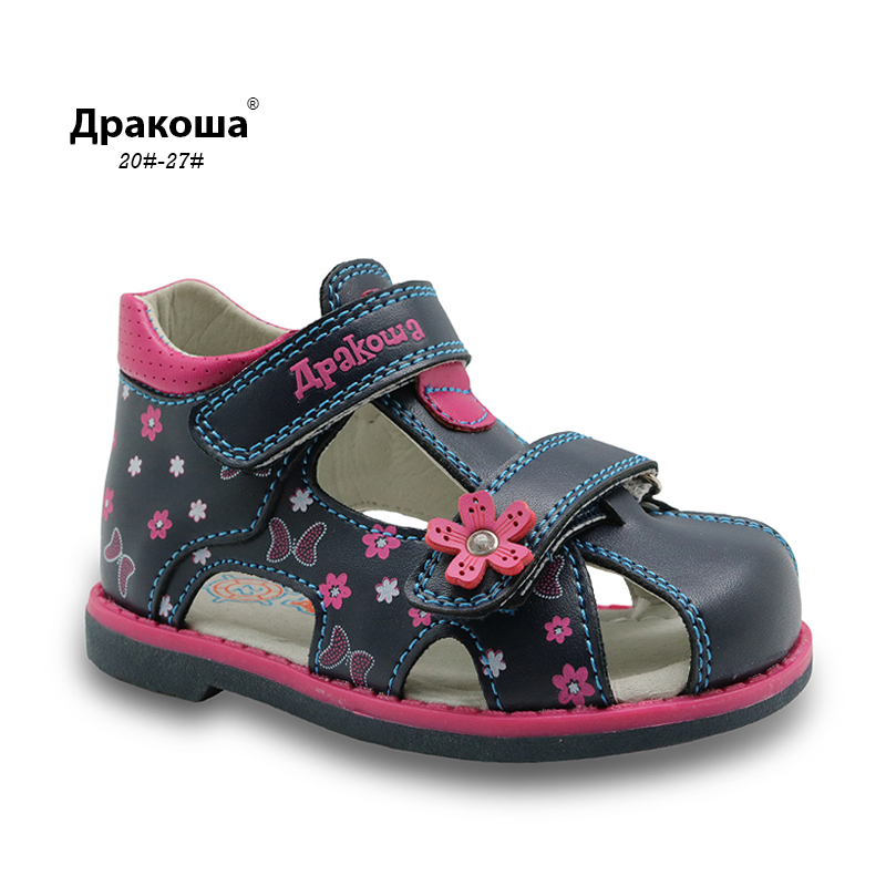 Apakowa Summer Classic Fashion Children Shoes Toddler Girls Sandals Kids Girls PU Leather Sandals Butterfly With Arch Support