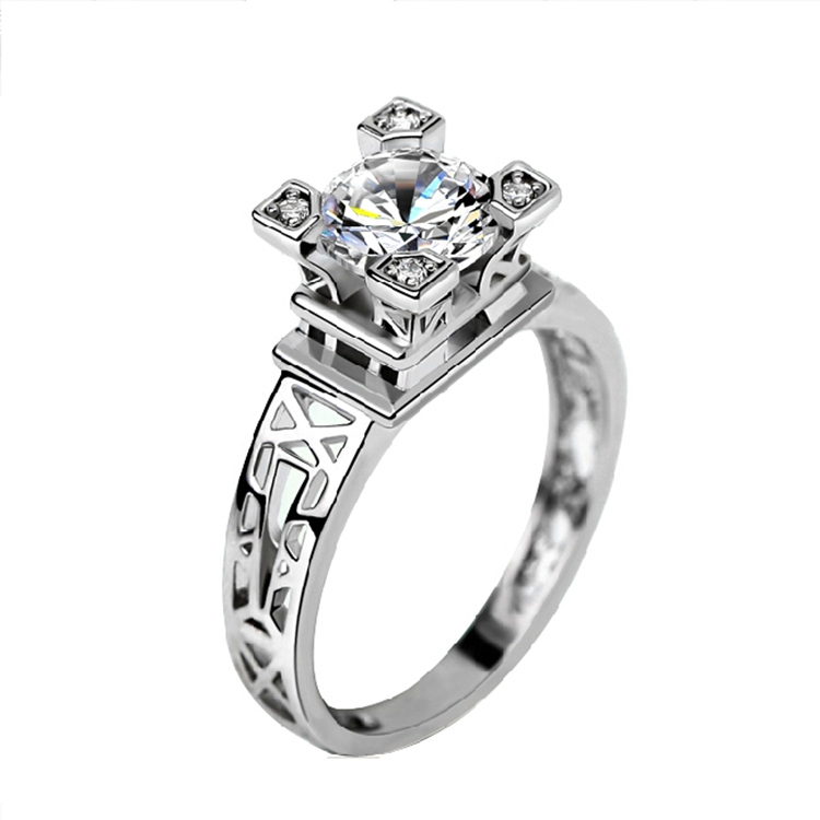 2017 classic tower design women finger ring new design wholesale lady silver color jewelry aaaa cz finger ring