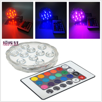 4pcs/lot Super Bright Submersible RGB LED Light 24key IR remote controllter Battery Operated IP68 Underwater Wedding Party
