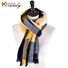 [KentoCandy] 2016 luxury Brand Top quality plaid women winter scarf tartan tassel warmer scarves yellow polyester foulard shawl