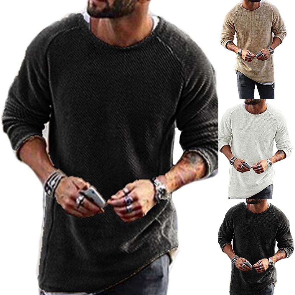 Men Casual Solid Color Sweater Knitwear O Neck Long Sleeve Shirt Pullover Top New Chic Vintage