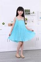 Letnia sukienka dzieci sukienki dla dziewczynek rękawów Olśniewająca Szyfonu suknia Plisowana hurtownia klirens odzież dziecięca