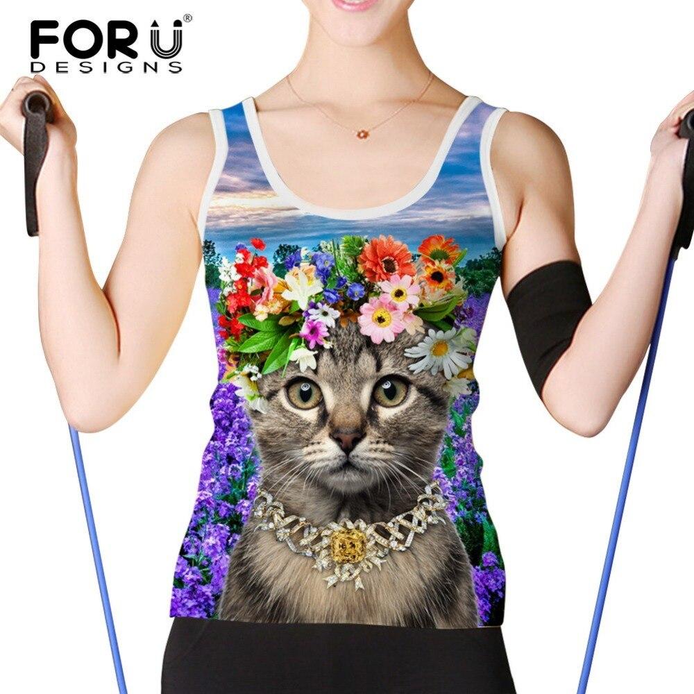 FORUDESIGNS Women Tank Tops Shirt 3D Cute Cat Print Floral Pattern Tank Top Women Summer Sleeveless Sexy Clothing Plus Size S-XL