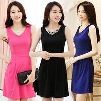 Summer Dress 2014 Brand New Women Korean Slim V Neck Sleeveless Solid Color Vest Casual Dress