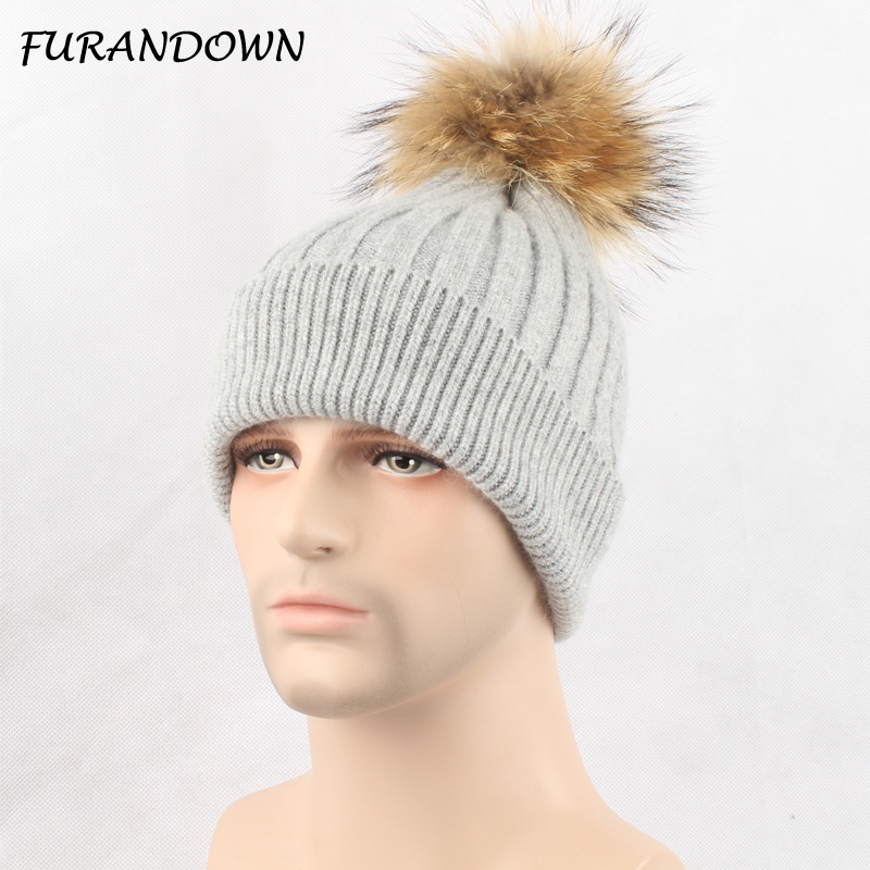High Quality Unisex Autumn winter knitted wool beanies hat natural fur pompom hats for women men solid colors ski gorros cap 3pcs unisex hats cap beanies for men