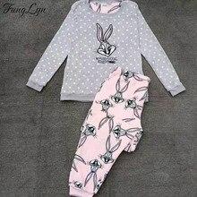 FL066C Flannel Cartoon Rabbit Warm Lingerie Pajamas Pyjamas Women Pijama Mujer Pizama Pigiama Pyjama Femme Sleepwear Pajama Set