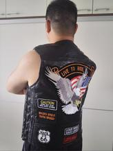 BONJEAN Chaleco de piel auténtica para motocicleta para hombre, con 14 parches, chalecos de motorista águila con bandera de EE. UU., S 4XL de piel de oveja de alta calidad