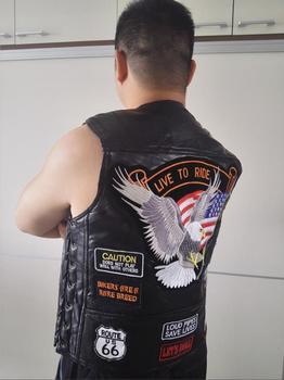 BONJEAN marka męska oryginalne skórzane motocyklowe kamizelki z14 łatki flaga stanów zjednoczonych Eagle Biker kamizelki kożuch wysokiej jakości US S-4XL tanie i dobre opinie Cztery pory roku CN (pochodzenie) Podróż Polyester Moto Biker Pojedyncze piersi Vest 0215 NONE POLIESTER litera REGULAR