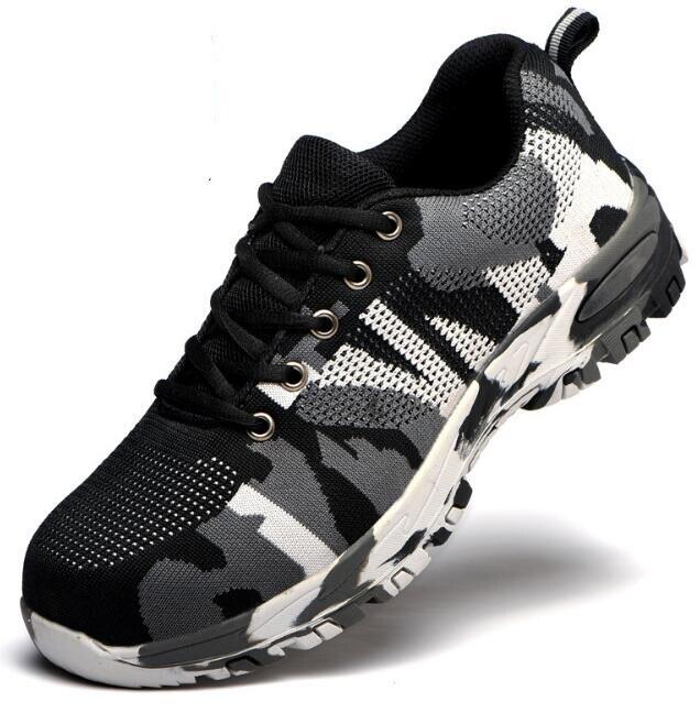 Строительные мужские уличные рабочие ботинки размера плюс со стальным носком; мужские камуфляжные ботинки с защитой от проколов; дышащая обувь - Цвет: safety shoes for men