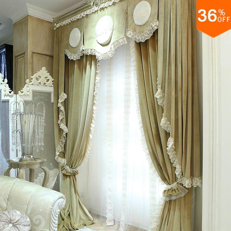Joli rebord de fleur assez simple perles de bord de dentelle le rideau pour fenêtres extrême mais rideaux de finition de rideau de luxe pour la chambre à coucher