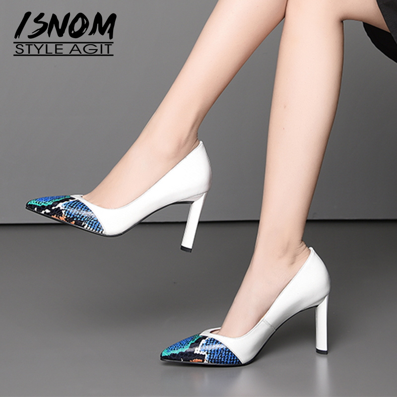 ISNOM Snake Cow Leather Women Pumps Pointed Toe Footwear Office Female Shoes Fashion High Heels Woman